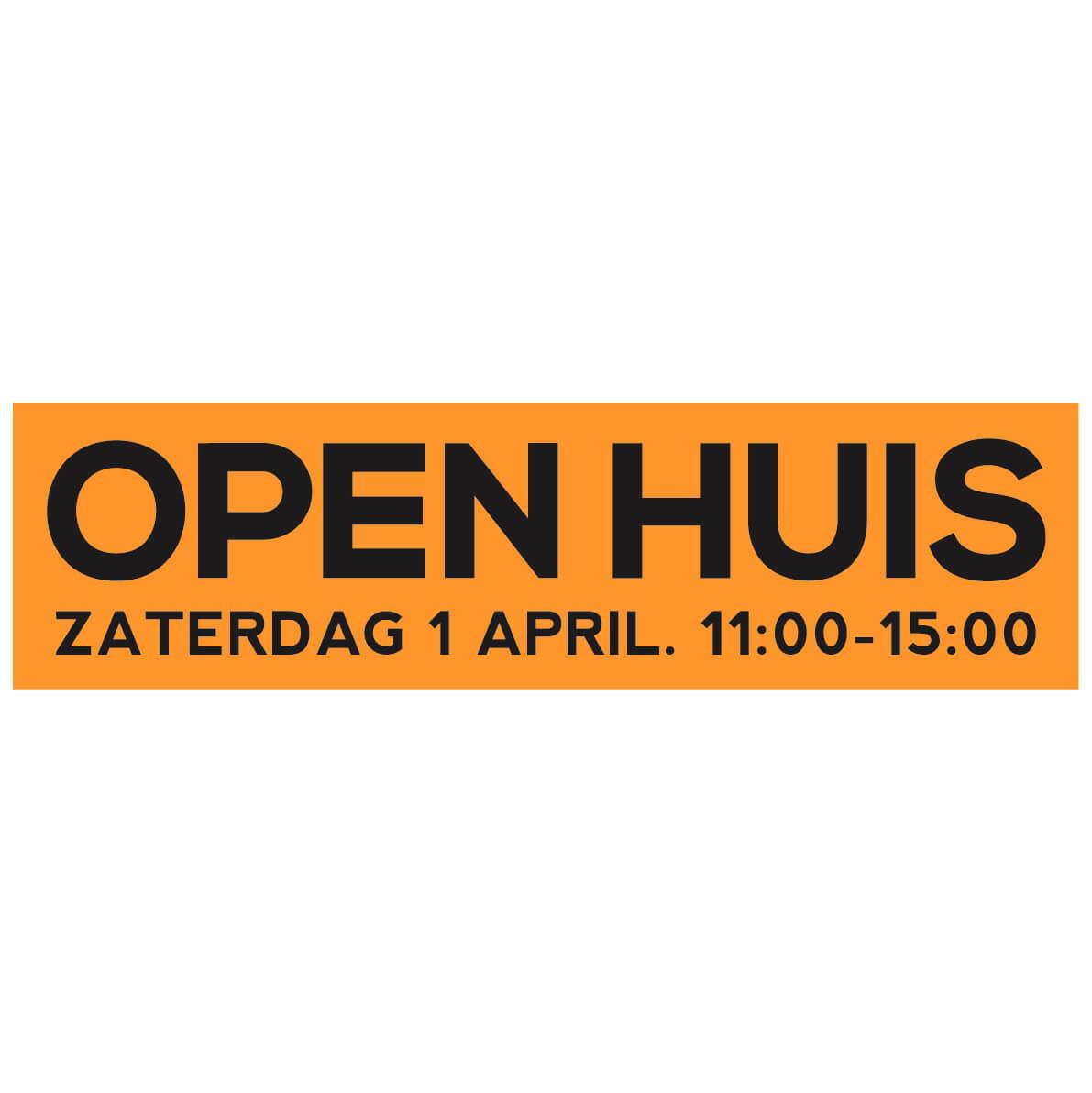 Open Huis Sticker Met Datum