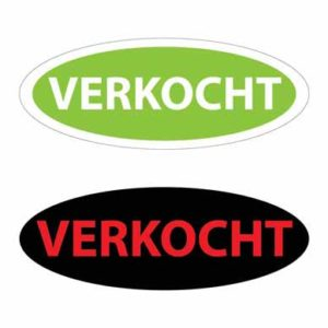 maatwerk stickers verkocht, ovale verkocht sticker