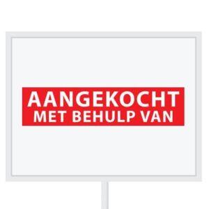 Reclameborden Totaal - makelaarsstickers - stickers voor makelaars - Aangekocht mbv - wit rood
