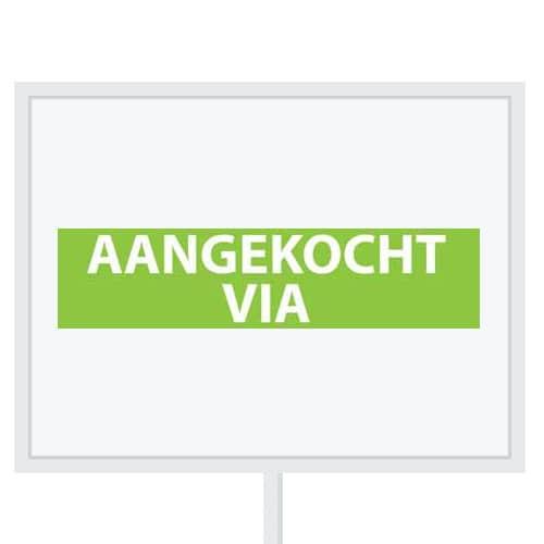 Reclameborden Totaal - makelaarsstickers - stickers voor makelaars - Aangekocht via - wit groen