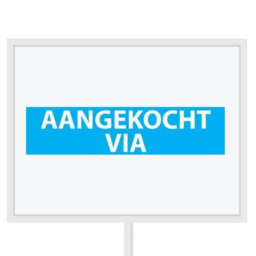 Reclameborden Totaal - makelaarsstickers - stickers voor makelaars - Aangekocht via - wit lichtblauw