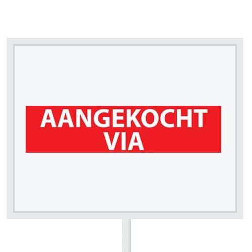 Reclameborden Totaal - makelaarsstickers - stickers voor makelaars - Aangekocht via - wit rood