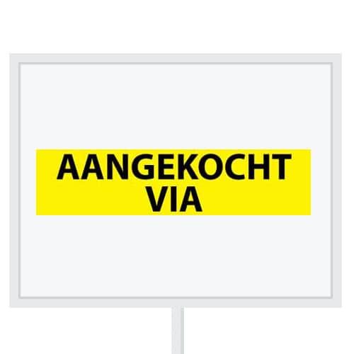 Reclameborden Totaal - makelaarsstickers - stickers voor makelaars - Aangekocht via - zwart geel