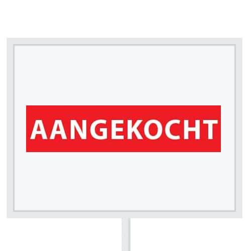 Reclameborden Totaal - makelaarsstickers - stickers voor makelaars - Aangekocht wit rood