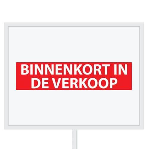 Reclameborden Totaal - makelaarsstickers - stickers voor makelaars - Binnenkort in de verkoop - wit rood