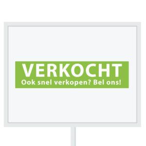 Reclameborden Totaal - makelaarsstickers - stickers voor makelaars - Binnenkort op funda - Verkocht OSVBO - wit groen