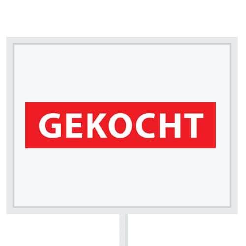 Reclameborden Totaal - makelaarsstickers - stickers voor makelaars - Gekocht - wit rood