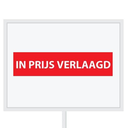 Reclameborden Totaal - makelaarsstickers - stickers voor makelaars - In prijs verlaagd - wit rood