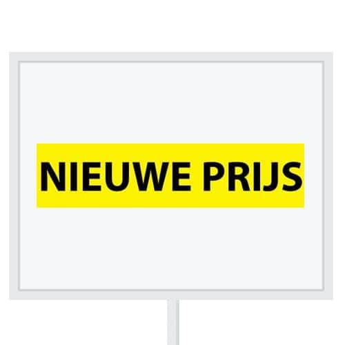 Reclameborden Totaal - makelaarsstickers - stickers voor makelaars - Nieuwe prijs - zwart geel