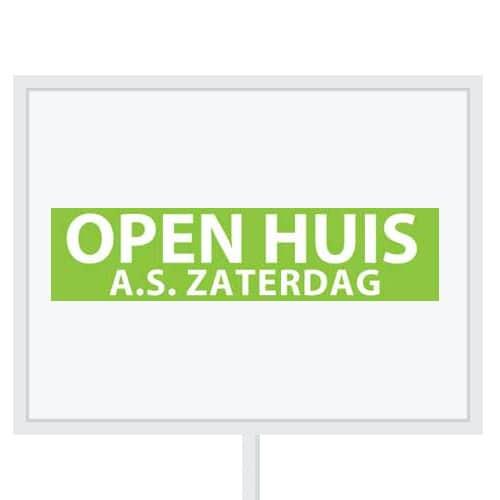 Reclameborden Totaal - makelaarsstickers - stickers voor makelaars - Open huis aanstaande zaterdag - wit groen