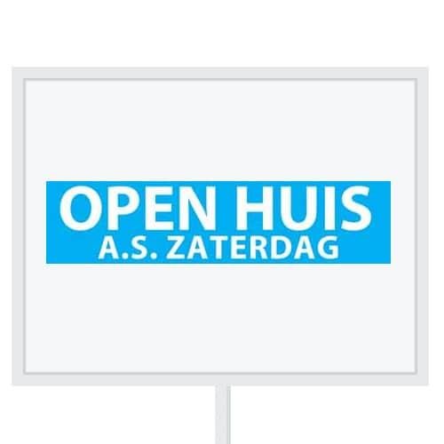 Reclameborden Totaal - makelaarsstickers - stickers voor makelaars - Open huis aanstaande zaterdag - wit licht blauw