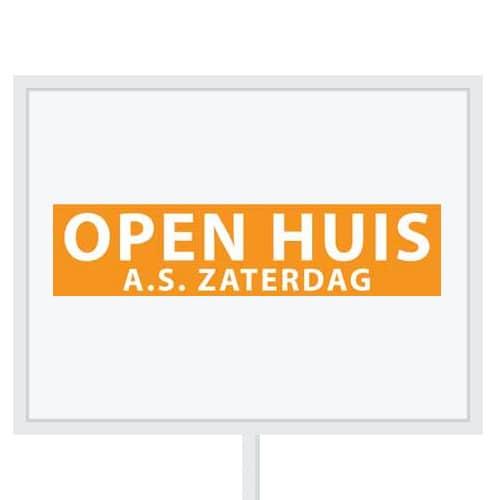 Reclameborden Totaal - makelaarsstickers - stickers voor makelaars - Open huis aanstaande zaterdag - wit oranje