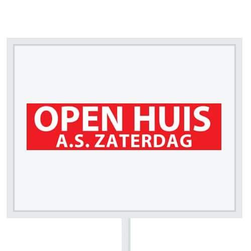 Reclameborden Totaal - makelaarsstickers - stickers voor makelaars - Open huis aanstaande zaterdag - wit rood