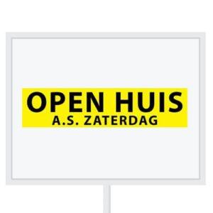 Reclameborden Totaal - makelaarsstickers - stickers voor makelaars - Open huis aanstaande zaterdag - zwart geel