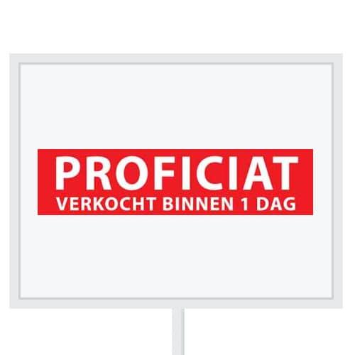 Reclameborden Totaal - makelaarsstickers - stickers voor makelaars - Proficiat verkocht binnen 1 dag - wit rood