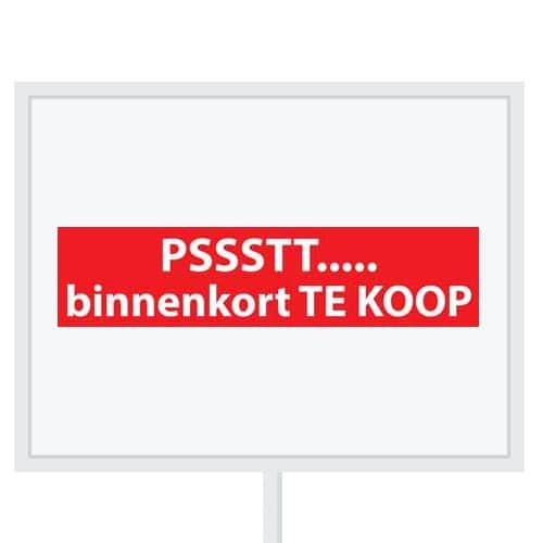 Reclameborden Totaal - makelaarsstickers - stickers voor makelaars - Pssstt.. binnenkort te koop - wit rood