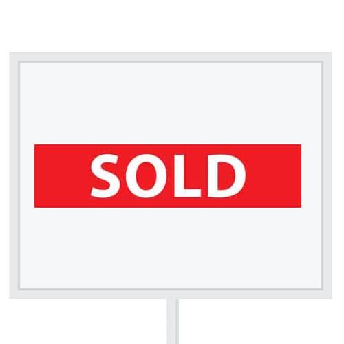 Reclameborden Totaal - makelaarsstickers - stickers voor makelaars - Sold - wit rood