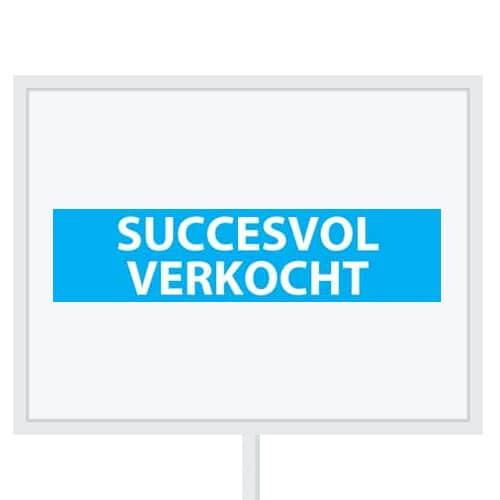 Reclameborden Totaal - makelaarsstickers - stickers voor makelaars - Succesvol verkocht - wit lichtblauw