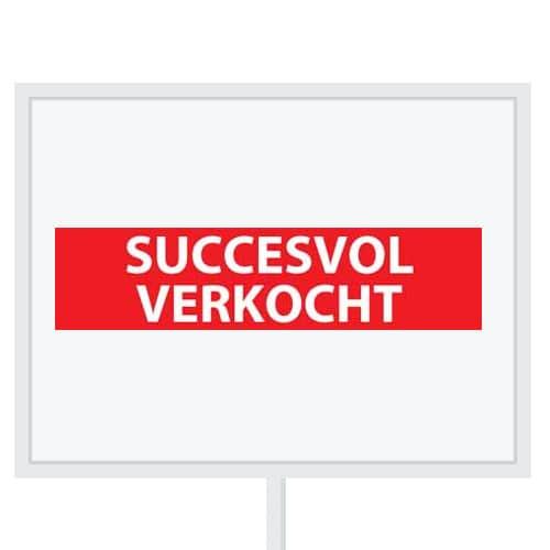 Reclameborden Totaal - makelaarsstickers - stickers voor makelaars - Succesvol verkocht - wit rood