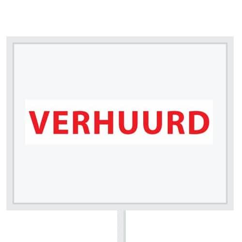 Reclameborden Totaal - makelaarsstickers - stickers voor makelaars - Verhuurd - rood wit