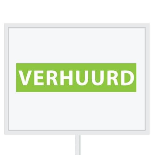Reclameborden Totaal - makelaarsstickers - stickers voor makelaars - Verhuurd - wit groen
