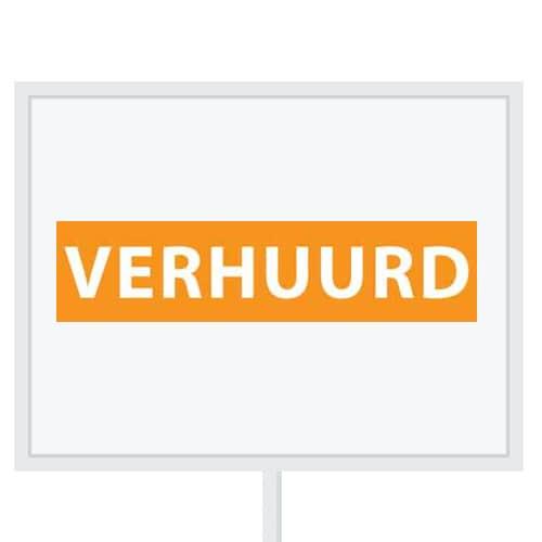 Reclameborden Totaal - makelaarsstickers - stickers voor makelaars - Verhuurd - wit oranje