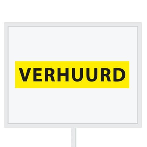 Reclameborden Totaal - makelaarsstickers - stickers voor makelaars - Verhuurd - zwart geel