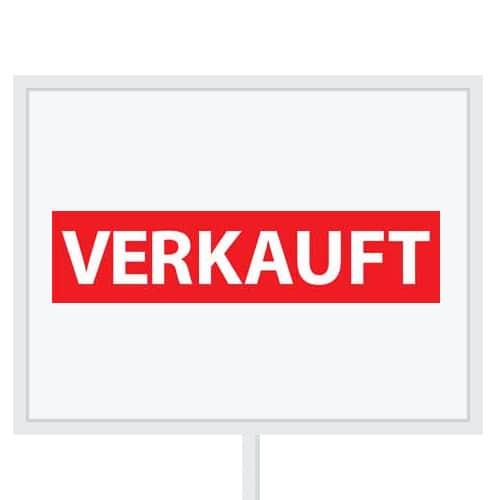 Reclameborden Totaal - makelaarsstickers - stickers voor makelaars - Verkauft - wit rood