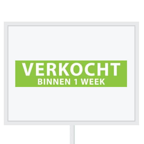 Reclameborden Totaal - makelaarsstickers - stickers voor makelaars - Verkocht binnen 1 week - wit groen