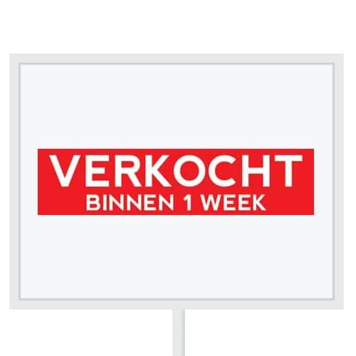 Reclameborden Totaal - makelaarsstickers - stickers voor makelaars - Verkocht binnen 1 week - wit rood