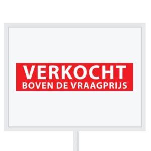 Reclameborden Totaal - makelaarsstickers - stickers voor makelaars - Verkocht boven de vraagprijs - wit rood