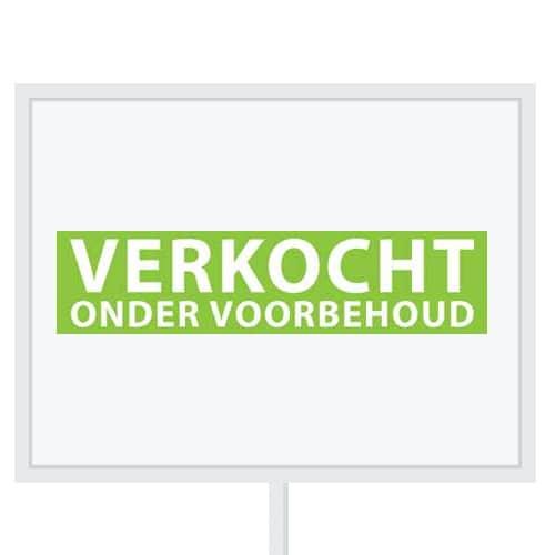 Reclameborden Totaal - makelaarsstickers - stickers voor makelaars - Verkocht onder voorbehoud - wit groen