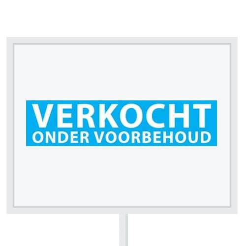 Reclameborden Totaal - makelaarsstickers - stickers voor makelaars - Verkocht onder voorbehoud - wit licht blauw