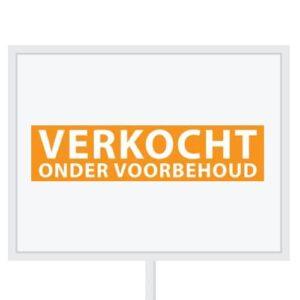 Reclameborden Totaal - makelaarsstickers - stickers voor makelaars - Verkocht onder voorbehoud - wit oranje