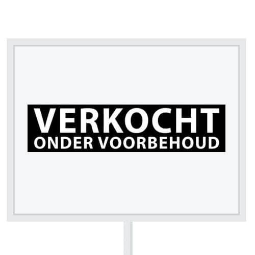 Reclameborden Totaal - makelaarsstickers - stickers voor makelaars - Verkocht onder voorbehoud - wit zwart