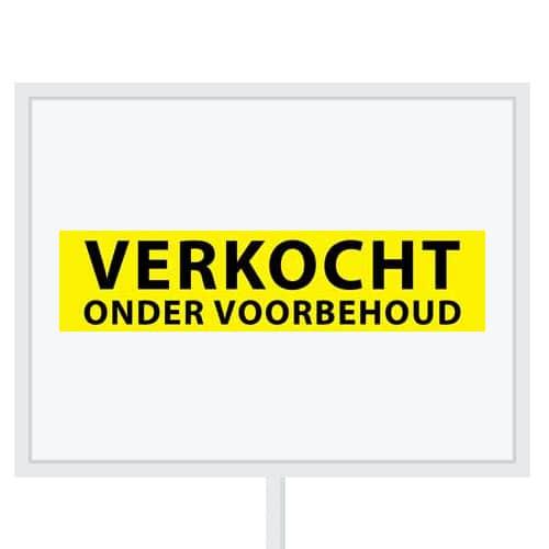 Reclameborden Totaal - makelaarsstickers - stickers voor makelaars - Verkocht onder voorbehoud - zwart geel