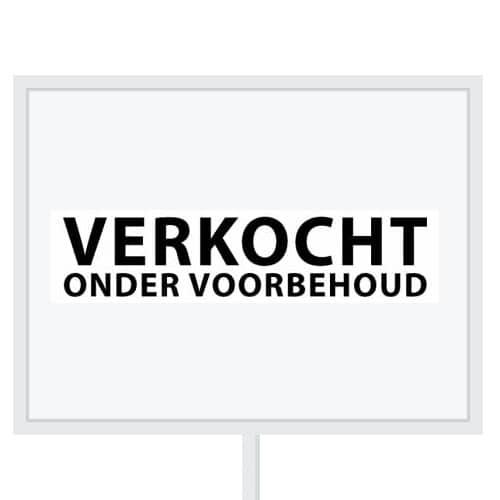 Reclameborden Totaal - makelaarsstickers - stickers voor makelaars - Verkocht onder voorbehoud - zwart wit