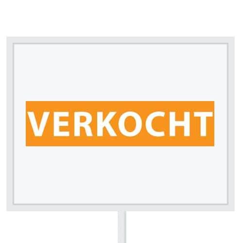 Reclameborden Totaal - makelaarsstickers - stickers voor makelaars - Verkocht - wit oranje
