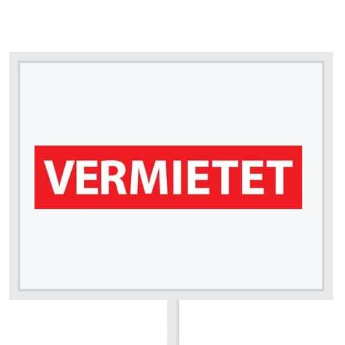 Reclameborden Totaal - makelaarsstickers - stickers voor makelaars - Vermietet - wit rood