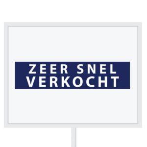 Reclameborden Totaal - makelaarsstickers - stickers voor makelaars - Zeer snel verkocht - wit blauw