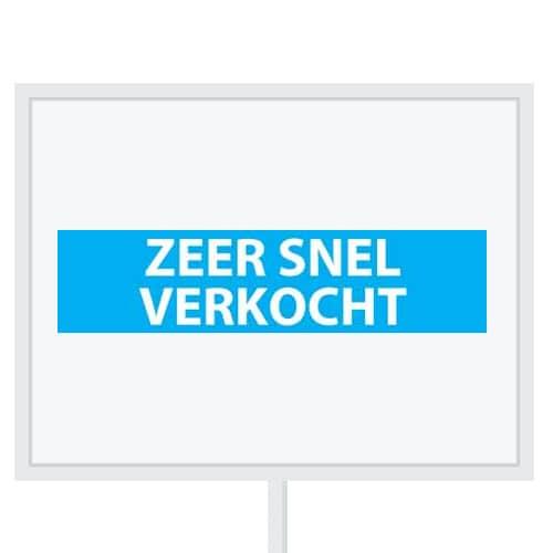 Reclameborden Totaal - makelaarsstickers - stickers voor makelaars - Zeer snel verkocht - wit lichtblauw