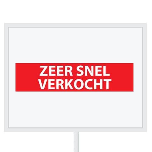 Reclameborden Totaal - makelaarsstickers - stickers voor makelaars - Zeer snel verkocht - wit rood