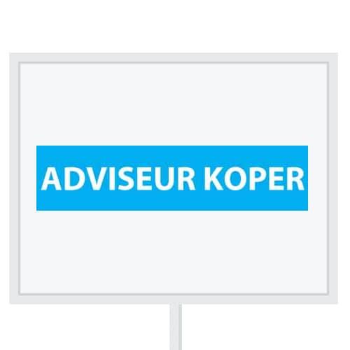 Reclameborden Totaal - makelaarsstickers - stickers voor makelaars - Adviseur koper - wit lichtblauw