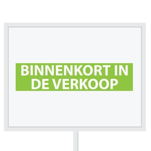 Reclameborden Totaal - makelaarsstickers - stickers voor makelaars - Binnenkort in de verkoop - wit groen