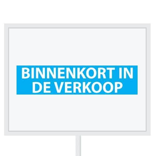 Reclameborden Totaal - makelaarsstickers - stickers voor makelaars - Binnenkort in de verkoop - wit lichtblauw