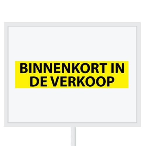 Reclameborden Totaal - makelaarsstickers - stickers voor makelaars - Binnenkort in de verkoop - zwart geel