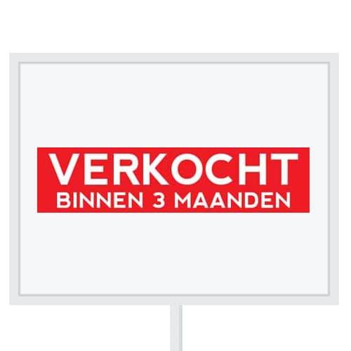 Reclameborden Totaal - makelaarsstickers - stickers voor makelaars - Verkocht binnen 3 maanden - wit rood