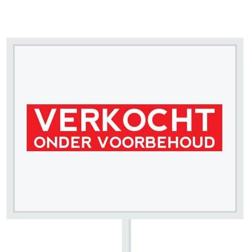 Reclameborden Totaal - makelaarsstickers - stickers voor makelaars - Verkocht onder voorbehoud - wit rood