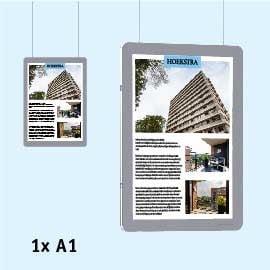 raampresentatie-kabelsysteem a4 staand, raampresentatie-makelaar, Raampresentatie-LED, LED-displays, raampresentatie a4, raamdisplays